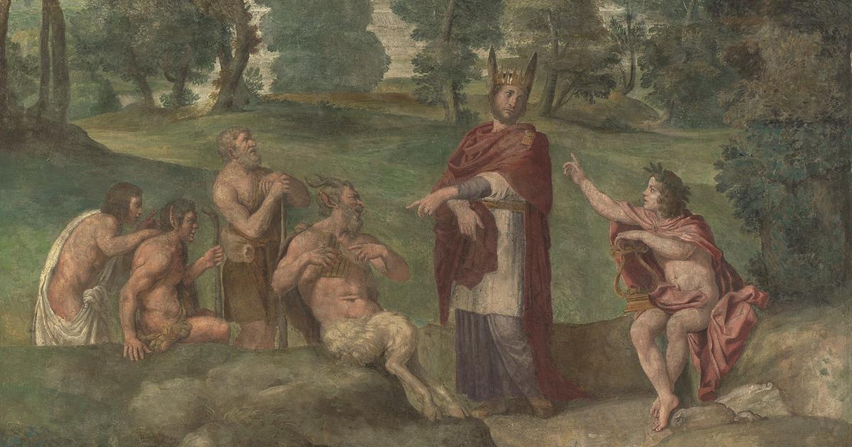 Ο Βασιλιάς Μίδας και τα γαϊδουρινά αυτιά (Εικόνα: Domenichino)