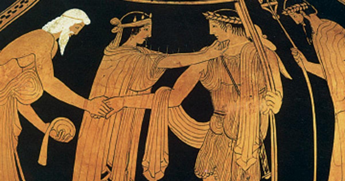 Θησέας χαιρετά τον Αιγέα και την Αίθρα (από αρχαίο ελληνικό αγγείο)