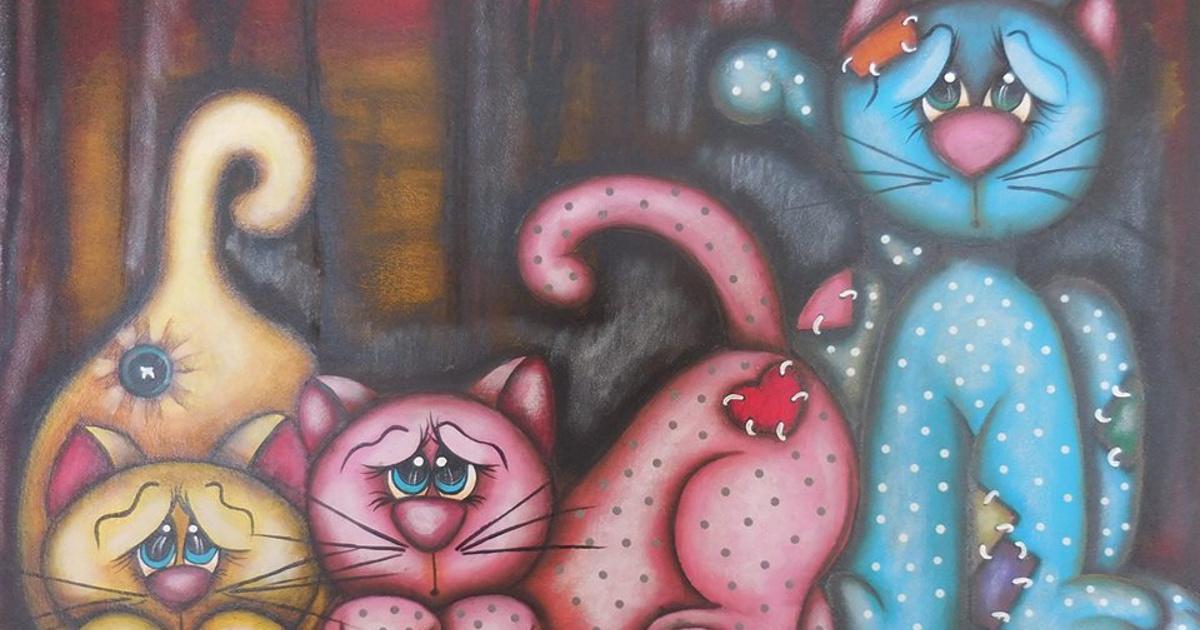 Οι τρεις γάτες, της Ειρήνης Χιώτη από τη ζωγραφιά της Χριστίνας Παύλου