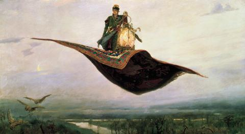Riding a Flying Carpet, an 1880 painting by Viktor Vasnetsov (Wikipedia)
